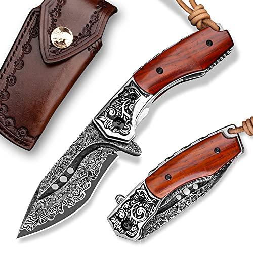NEWOOTZ Japanese Handmade Damascus Steel Folding Pocket Knife with Leather Sheath,Liner Lock...