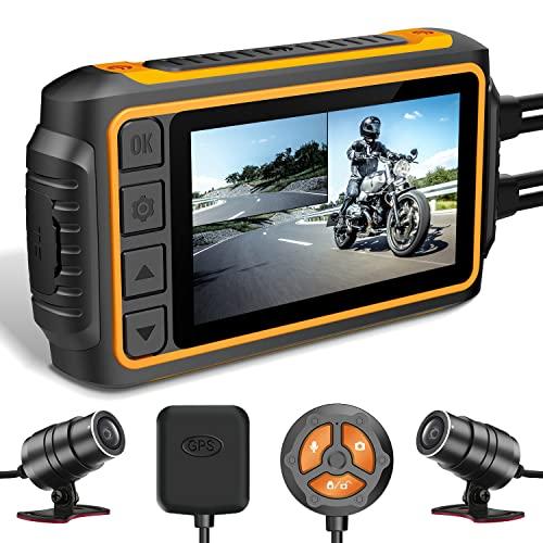 IXROAD Dash CAM para Moto, 1080P Cámara de Motocicleta Frontal y Trasera con 3' LCD,...
