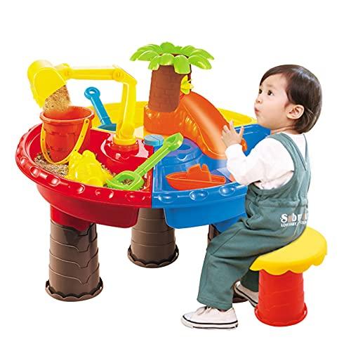 LQKYWNA Juego de Actividades al Aire Libre con Agua de Playa para niños, Mesa de construcción, Caja de Mesa de Agua de Arena de Verano para bebés creativos, Juguetes Hechos a Mano para bebés y niños