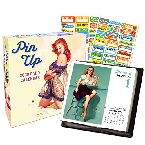 Pin Ups 2020 Calendar Box Edition Bundle - Deluxe 2020 Pin Up Models by Gil Elvgren- 365 Daily Pages Box Calendar with Over 100 Calendar Stickers