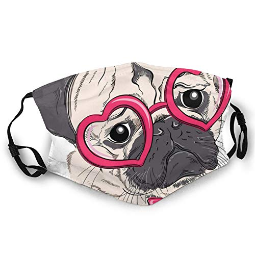 Fashion 3D Face Protect Printed Gesichts-Mundschutz,Fashionable Dog with Heart Shaped Glasses and Dotted Bow Tie I Love Pugs Drawing