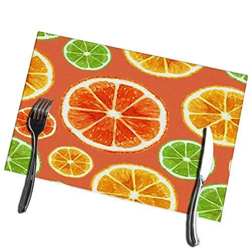 Winter-South keukenplacemats, set van 6 stuks, sinaasappelvruchten-dieet, levensmiddelen, aquarel, moderne, verse citroen, vlekbestendige placemats