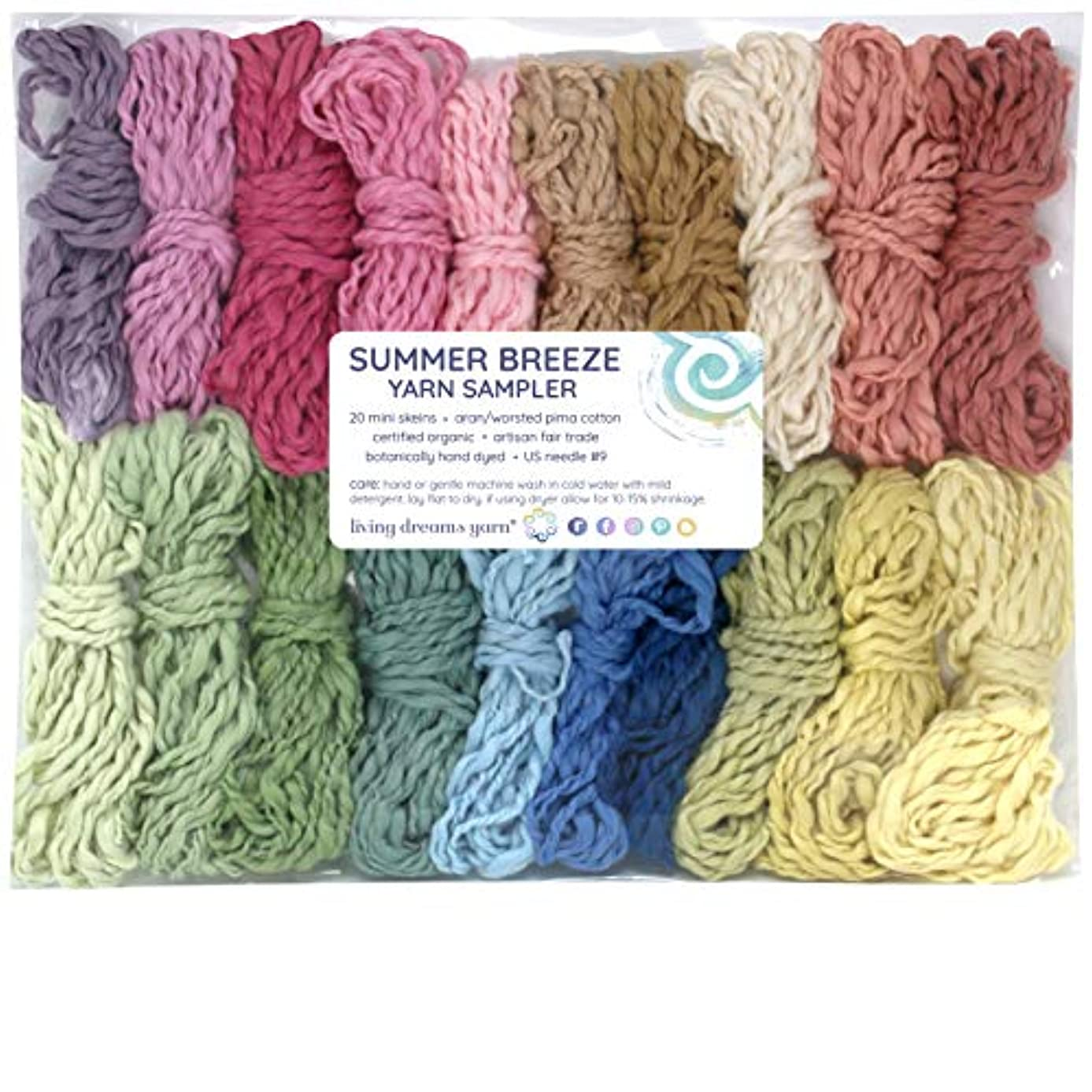Living Dreams Yarn SUMMER BREEZE Yarn Sampler - Certified Organic Pima Cotton Hand Dyed with Peruvian Botanicals. Cruelty Free & Fair Trade. 20 Color Samples