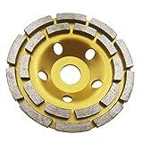 Amoladora de diamante Disco de hormigón Muela de 125 mm de doble fila Diamond Cup Rectificadora Disco para hormigón, mármol, granito, piedra natural (125 MM-20T)