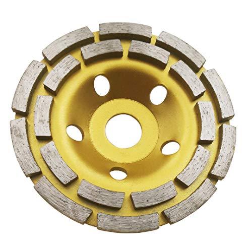 Disco de amoladora de diamante Disco de molienda de hormigón 125MM Doble fila Diamante Copa Molienda Ruedas Disco para hormigón, mármol, granito, piedra natural (125MM-20T)