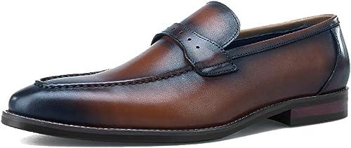 RSHENG zapatos de negocios hechos a mano de los hombres de Penny Loafers Moda transpirable Estilo clásico zapatos casuales zapatos de conducción