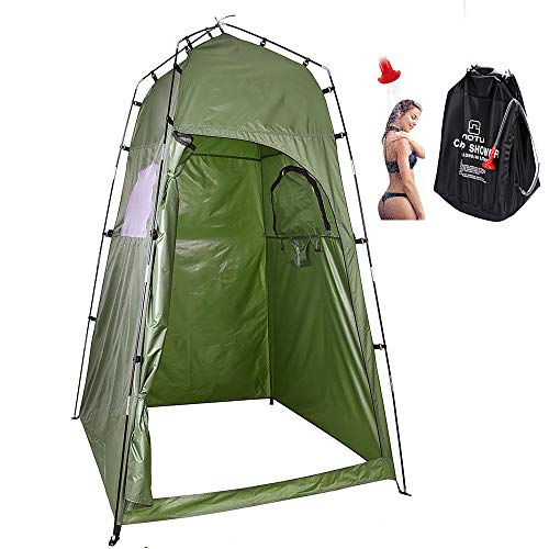 LXZH Outdoor Duschzelt Camping mit Solardusche 40L Tasche, Tragbare Pop Up Umkleidezelt Toilettenzelt, Privatsphäre WC Zelt Lagerzelt 120 * 120 * 195CM,Grün
