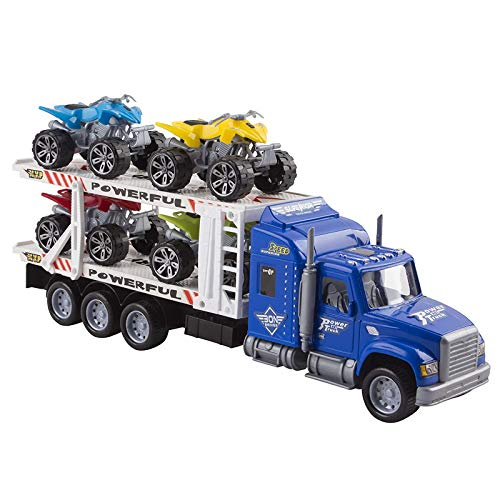 Vokodo Toy Semi Truck Trailer 15' Includes 4 ATVs Friction Carrier Hauler Kids Push And Go Big Rig Auto Transporter Vehicle Semi-Truck Car Pretend Play Perfect Gift For Children Boys Girls Toddlers