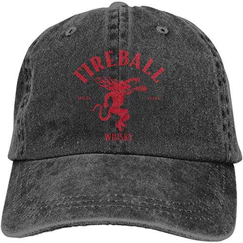 Gsdgjgg Fireball Cinnamon Whisky Wild Casquette Baseball-caps Black Cotton Adjustable Unisex Hat Gift,One Size