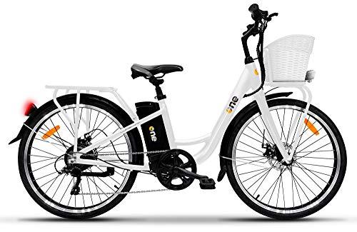 the one Bicicletta Elettrica City Bike a Pedalata Assistita 26' 250W Light Bianca Unisex Adulto, White, no size