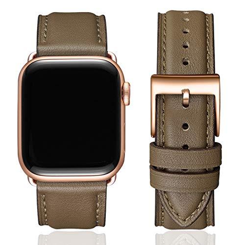 SUNFWR Lederbänder für Apple Watch Armband 44mm 42mm 40mm 38mm,Männer Frauen Ersatz-Echtlederband für iWatch Serie 6 5 4 3 2 1,SE,Sport,Edition(42mm 44mm,Taupe & Rosegold)