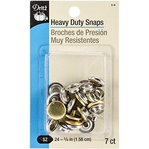 Dritz Heavy-Duty Snaps 5/8' 7/Pkg-Gilt