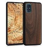 kwmobile Bumper Schutzhülle kompatibel mit Samsung Galaxy A51 - Holz Hülle Handy Hülle Cover Dunkelbraun