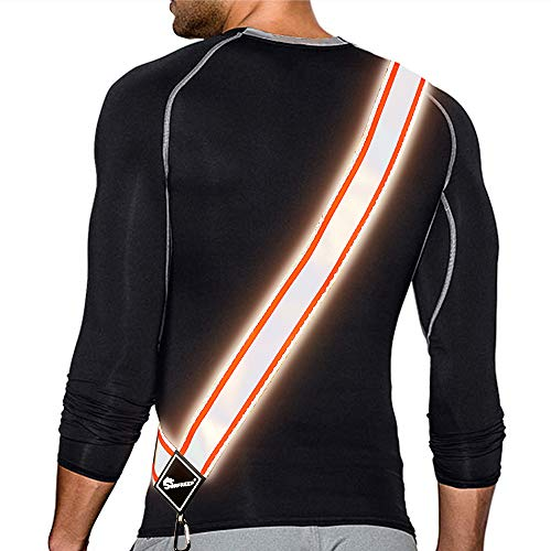 SUNFREEP Reflective Sash, Reflective Running Vest, Reflective Running Gear for Walking at Night, 360° High Visibility Running Device with Adjustable Buckle and Hook - Lightweight/Silver Orange
