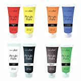 8 X 120ML TUBES OF ACRYLIC PAINT PAINTS NON TOXIC- SET OF8 ASSORTED COLOUR