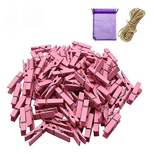 SENDILI Mollette Legno Piccole - 3.5 CM Colorate Foto da Parete Matrimoni Compleanno Feste Biglietti Memo Fai da Te Decorative Clip con 10 Metri Spago, Rosa
