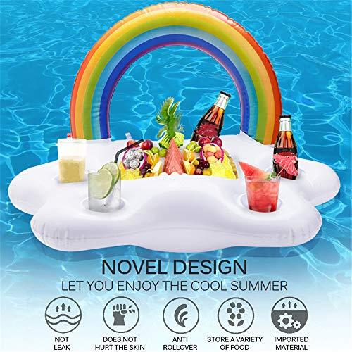 3Pcs Opblaasbaar Zwembad Summer Party Emmer Rainbow Cloud Bekerhouder Opblaasbaar Zwembad Float Drinken Van Het Bier Cooler Table Bar Tray Beach Swimming Ring