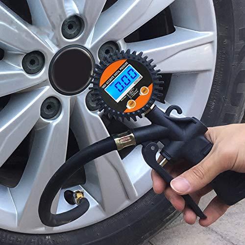 Manómetro digital de neumáticos Coche Multifuncional Digital LCD Display for inflar con aire del neumático Presión probador del calibrador de vehículo Vigilancia inflación
