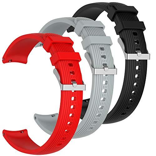 AFUNTA Silikon-Uhrenarmband, kompatibel mit Samsung Galaxy Watch Active, weiches Silikon, Sport-Uhrenarmband mit Verstellbarer Schlaufe, Schwarz/Grau/Rot