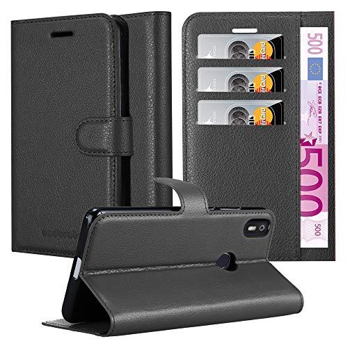 Cadorabo Hülle für BQ Aquaris X PRO in Phantom SCHWARZ – Handyhülle mit Magnetverschluss, Standfunktion & Kartenfach – Hülle Cover Schutzhülle Etui Tasche Book Klapp Style