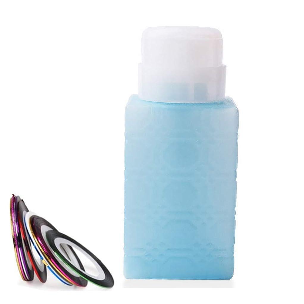 あえぎ頼る性格空ポンプボトル ポンプディスペンサー ネイルワイプ瓶 ジュルクリーナー ジュルリムーバー 可愛い (ブルー)