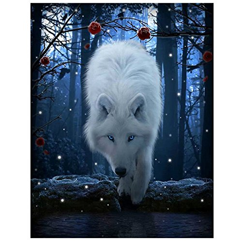 Toogoo DIY 5D Diamond Painting Night Wolf Embroidery Cross Stitch Kit Home Decor White