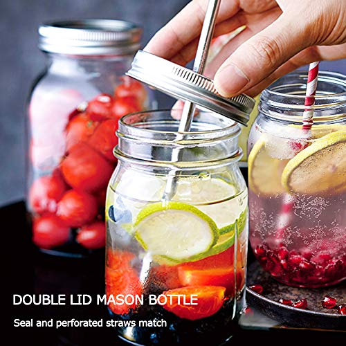 Product Image 3: Sungwoo Mason Jars 16 Oz Regular Mouth Canning Jars with Sealed and Straw Lids for Jam Honey Snacks Candies (12 Pack)