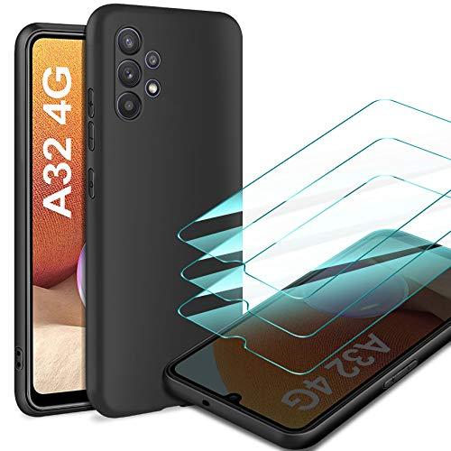 Leathlux Cover Compatibile con Samsung Galaxy A32 4G con 3 Pellicola Vetro Temperato, Morbido Silicone Protettivo Bumper TPU Gel Smartphone Custodia Case - Nero