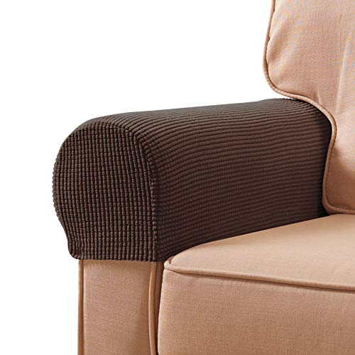subrtex Stretch Armrest Covers Spandex Arm Covers for Chairs Couch Sofa Armchair Slipcovers for Recliner Sofa with Twist Pins 2pcs (Chocolate)