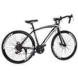 LODDD Lightweight Aluminum Road Bike - 700c Wheels Mountain Road Bike Begasso Simanos Aluminum Frame Full Suspension, 21 Speed Disc Brakes Road Bicycles (US Stock)