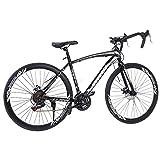 LODDD Lightweight Aluminum Road Bike - 700c Wheels Mountain Road Bike Begasso Simanos Aluminum Frame Full Suspension, 21 Speed Disc Brakes Road Bicycles (US Stock)
