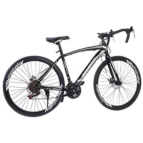 lkoezi 26 Inch Mountain Bike, 21 Speed Road Bike Shimanos Aluminum Full Suspension Outroad Bike Mountain Bicycle, 700c City Commuter Bicycle for Mens/Womens (Black)
