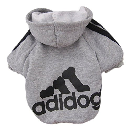Zehui–Pet Dog Cat Sweater Puppy T shirt con cappuccio caldo cappotto abbigliamento abbigliamento grigio l