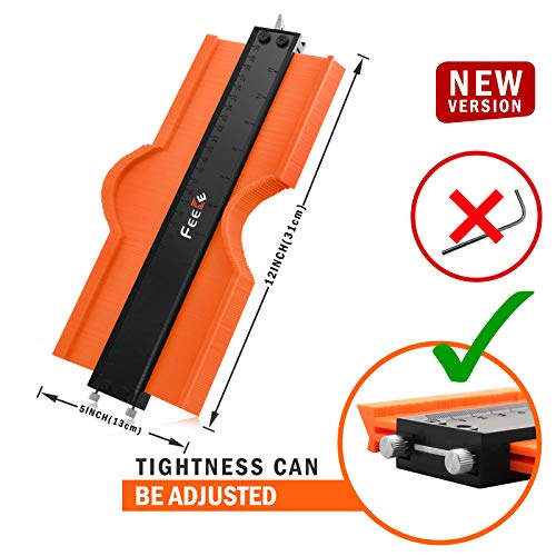 Feeke Contour Gauge(12 Inch) Profile Tool, Adjustable Duplicator With Lock,Ultra Wide Measure Rulers Tool for Shape Corners and Woodworking Tools Tracing, Suitable for DIY Templates, Construction