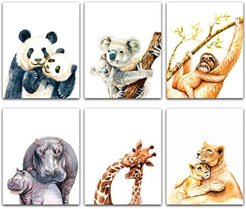 SICOHOME Baby Nursery Decor Pictures Set of 6 Cute Animal Wall Prints 8 x 10 Unframed Baby Room product image