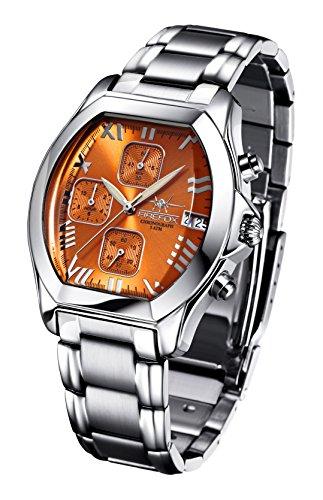 FIREFOX NEBUKADNEZAR FFS175-107 Sunray orange Damenuhr Armbanduhr Chronograph massiv Edelstahl Sicherheitsfaltschließe wasserdicht Laufwerk Miyota OS10