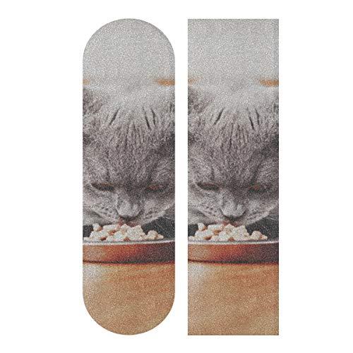JEOLVP 33.1x9.1inch Sport Outdoor Skateboard Sandpapier Hauskatze Essen Futter In Bowl Print Wasserdichtes Skateboard Sandpapier Für Tanzbrett Double Rocker Board Deck 1 Blatt