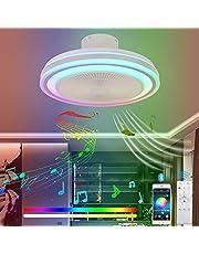 VOMI LED Plafondlamp Ventilator met Afstandsbediening en Bluetooth Speaker Plafondventilator met Licht RGB Kleur Muziek Plafondlicht Dimbaar met Stil Onzichtbaar Ventilator voor Slaapkamer