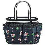 ALINK Mesh Shower Caddy Basket, Portable Travel Toiletry Bag for College Dorm Bathroom Gym - Flamingo Design