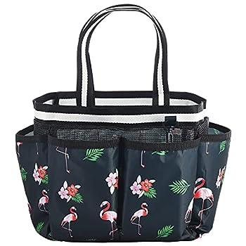 ALINK Mesh Shower Caddy Basket Portable Travel Toiletry Bag for College Dorm Bathroom Gym - Flamingo Design