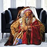 Native American Indian Blankets American Indian Fleece Blanket Southwest Throw Blanket Super Soft Luxury Plush Native American Chief Blankets for Couch Bed Travelling Camping Gift 50'X40'