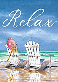 Custom Decor Relax Adirondacks Beach - Garden Size, Decorative Double Sided, Licensed and Copyrighted Flag - Printed in The USA Inc. - 12 Inch X 18 Inch Approx. Size