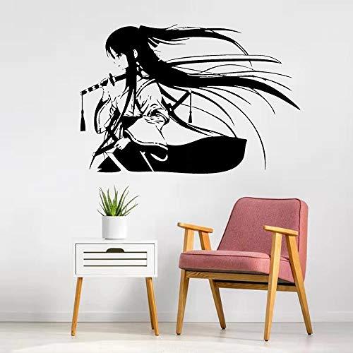 Samurai Geisha espada samurái japonesa Anime pegatina de pared vinilo pegatina de pared aula dormitorio gimnasio decoración
