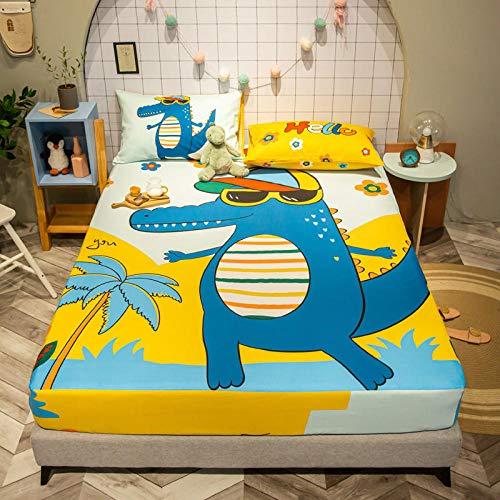KIrSv Protector de colchón,Preciosa sábana Ajustable de Dibujos Animados con sábana de Banda elástica,Funda de colchón de Dibujos Animados Twin Full Queen King Size-N_120x200cm+25cm