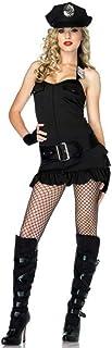 GBYAY Mujeres Adultas policía UniformeNegro Discoteca Fiesta Rendimiento policía Cosplay Vestido con Sombrero para Halloween