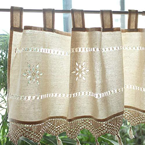 DDZHE Net Curtain Hollow Crochet Kitchen Curtains Cotton Short Curtain Handmade Cafe Curtain Fashion Half Curtain With Tassel 150 * 45cm