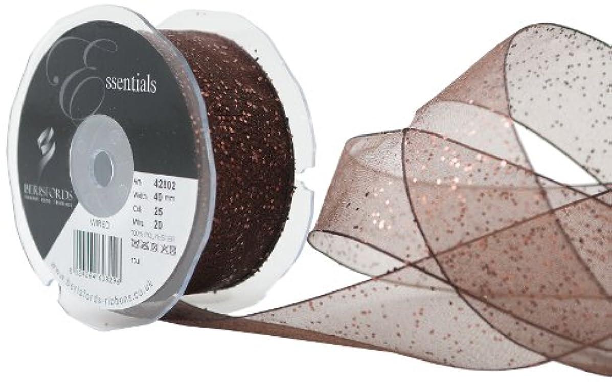 Berisfords Essentials R4280240/25 | Dark Brown Random Glitter Ribbon 20m x 40mm