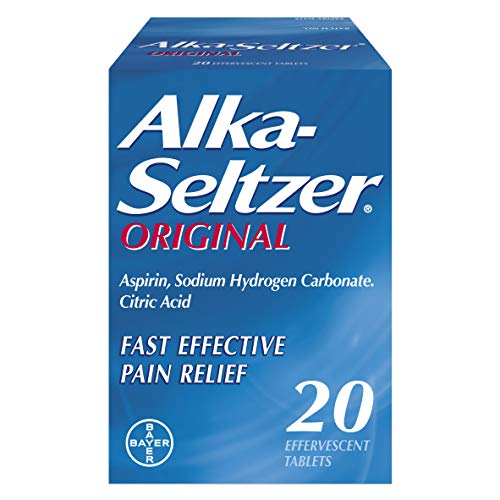 Alka Seltzer Original Effervescent Tablets with Aspirin, Fast and Effective Pain Relief for Cold and Flu, 1 Pack of 20