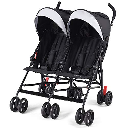 HONEY JOY Double Stroller, Folding Infant Stroller with 2 Cushioned Seats, Twin Umbrella Stroller with 5-Point Safety Harness, Cup Holder, Storage Bag, Adjustable Canopy, Portable Travel Strol (Black)