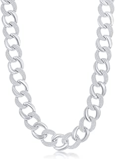925 Sterling Silver Rhodium Plated Alternating Polished and Micro Pave-Set Cubic Zirconia Cuban Link Chain Hip-Hop 7+1''/2...
